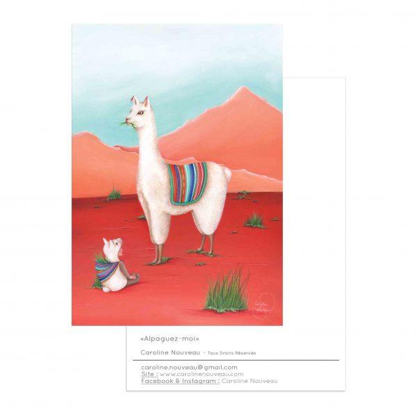carte lama alpaga enfant nature montagnes