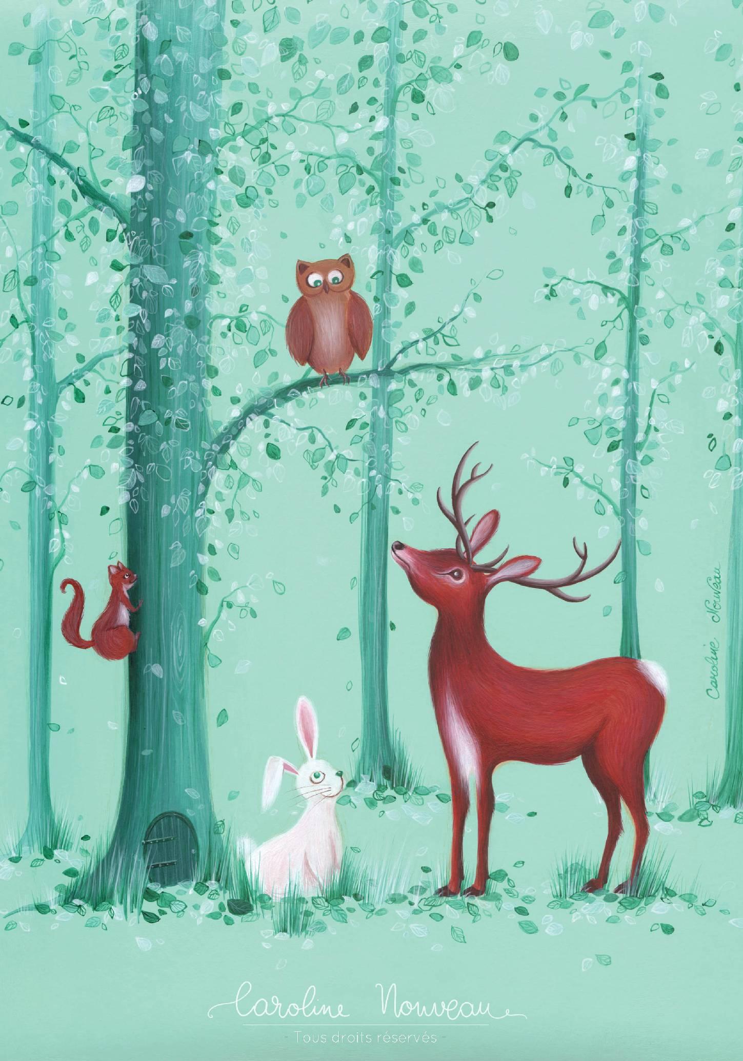 """""""Animaux de la forêt"""" Acrylique - Couverture pour un album photo d'enfant - 2017 - Non disponible"""