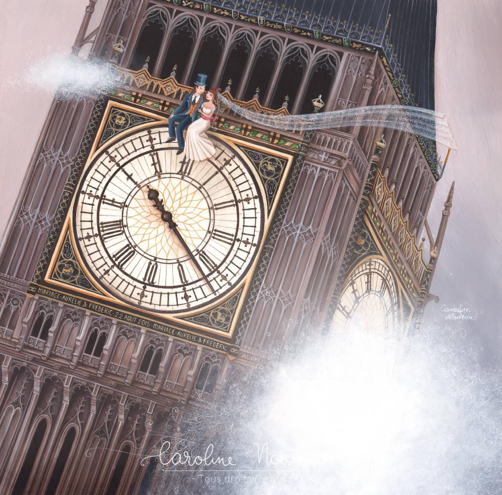 """""""Big Ben"""" Acrylique sur papier - 35*35cm - 2015 - Non disponible"""