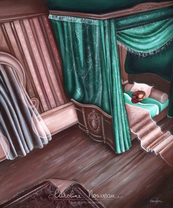 tableau dessin peinture chambre reve lit baldaquin