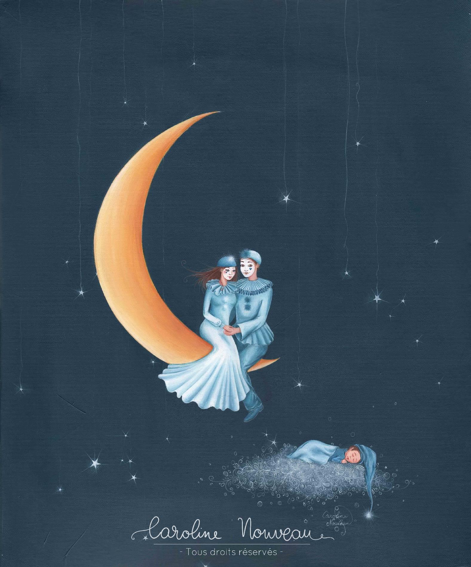 """""""Au clair de lune"""" Acrylique sur toile - 38*46cm - 2016 - Non disponible"""