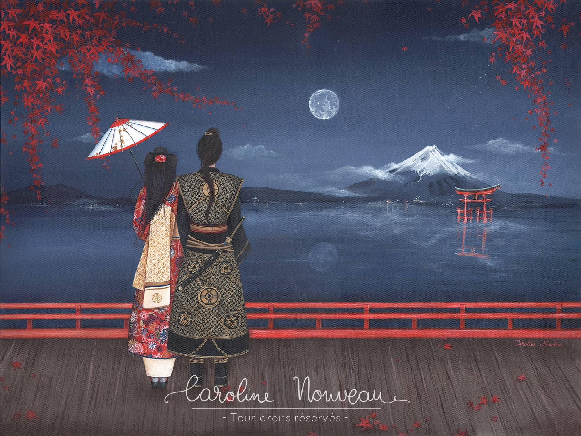 """""""Momijigari, l'Automne rouge au Mont Fuji"""" Acrylique sur toile - 61*46cm - 2017/2018 - Non disponible"""