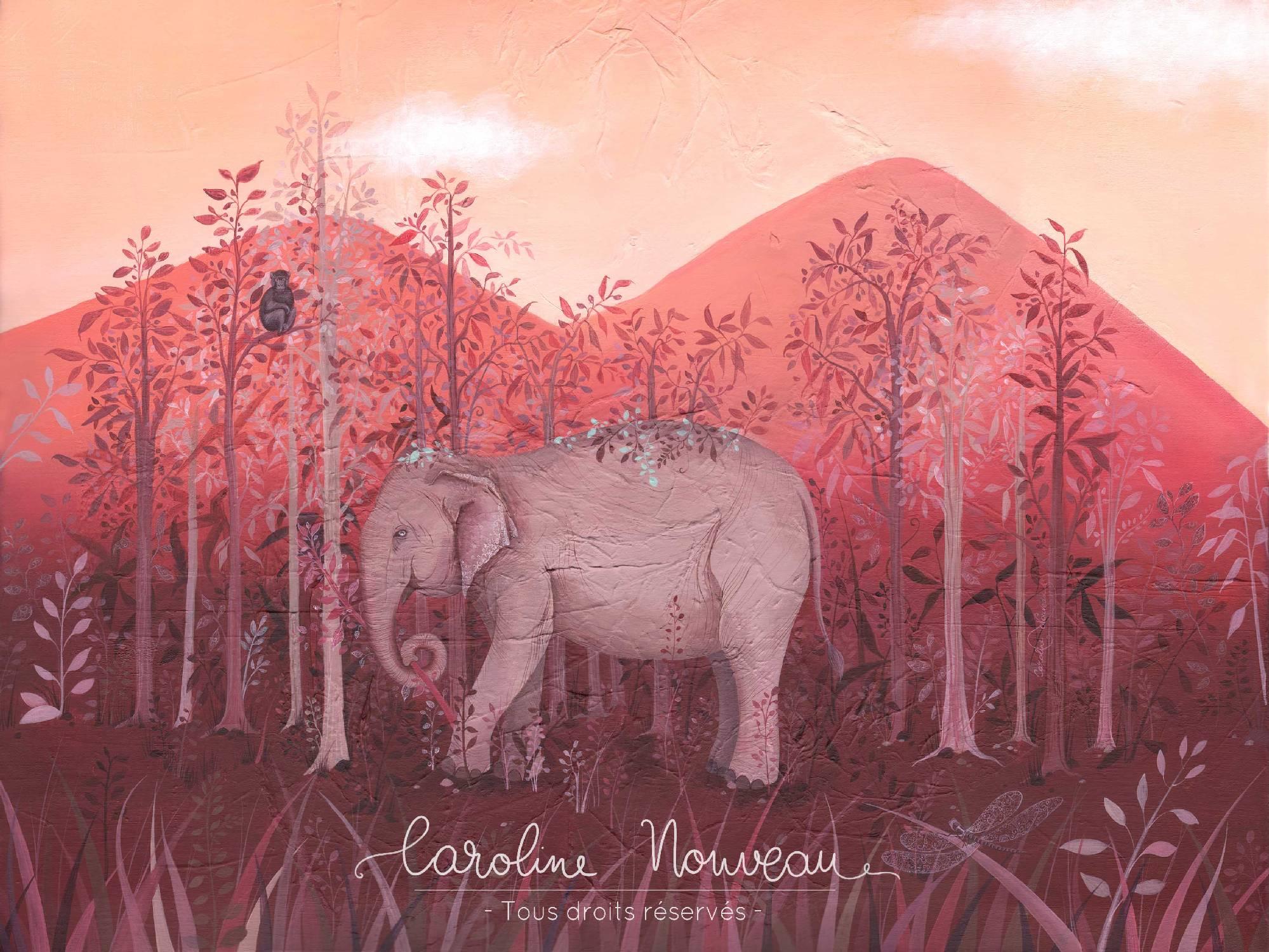 """""""L'éléphant du Mondulkiri"""" Acrylique sur toile - 73*60cm - 2020 - Disponible 450€"""