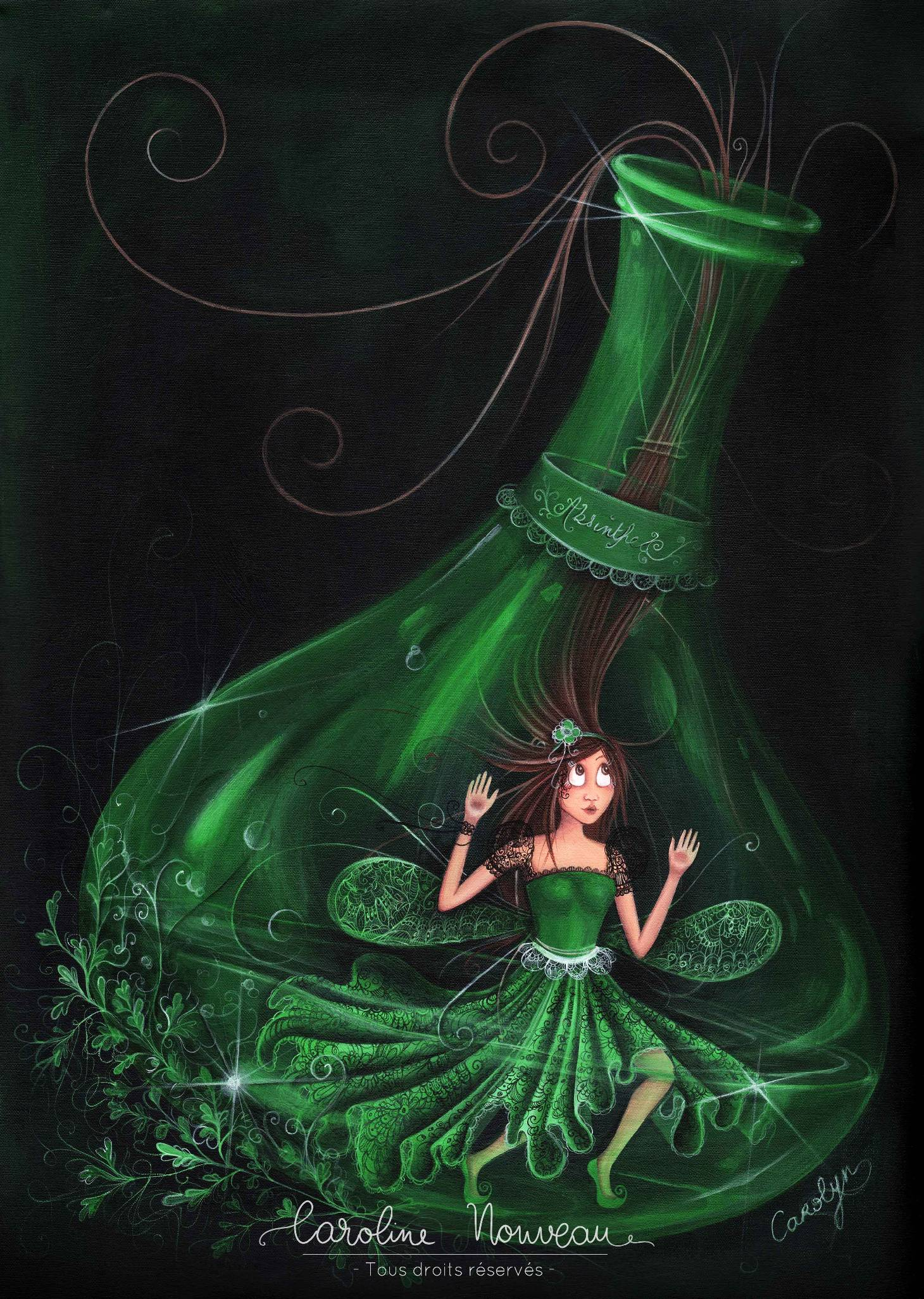 """""""La Fée verte"""" Acrylique sur toile - 33*46cm - 2012 - Non disponible"""