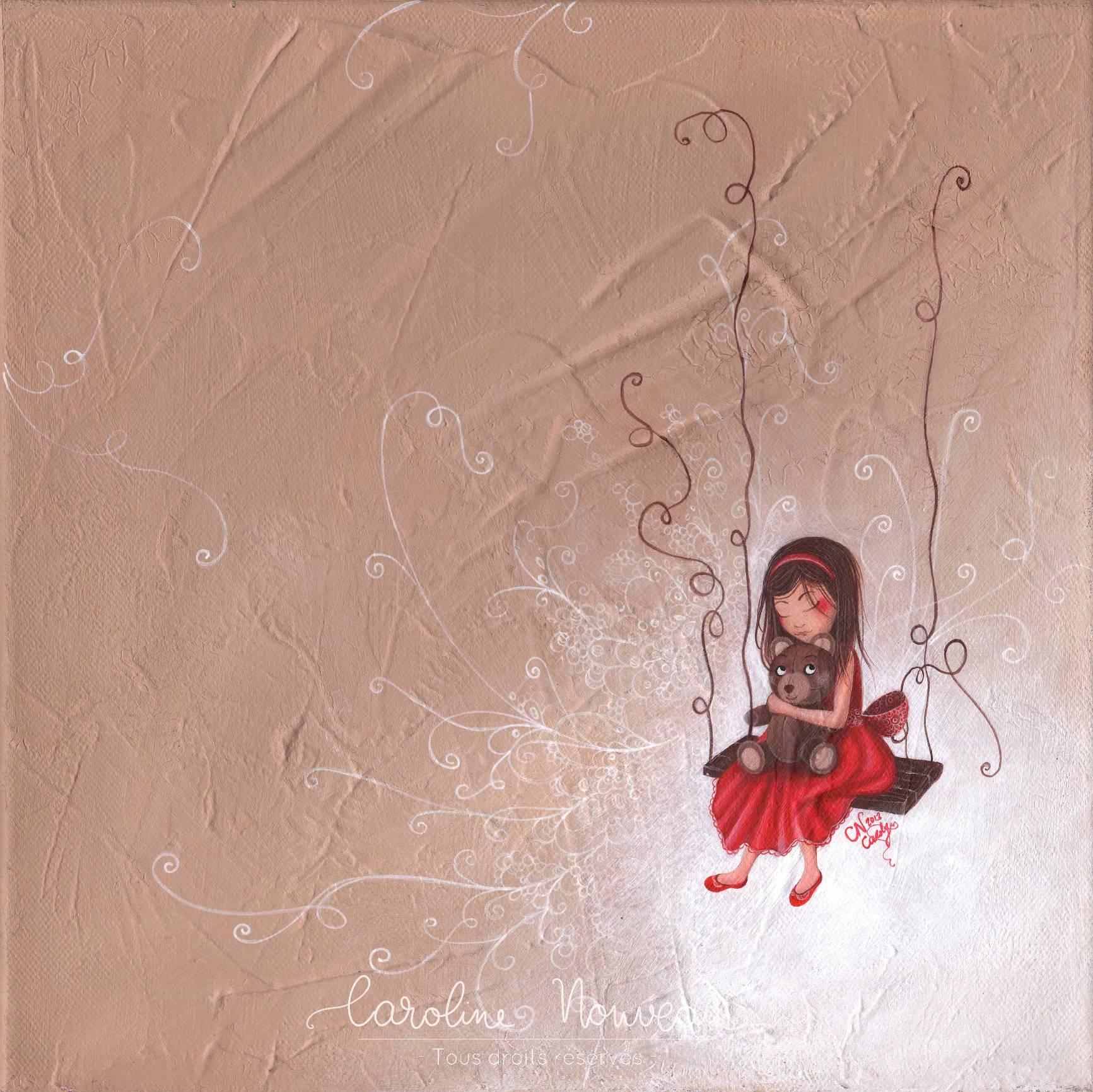 """""""Mon Ourson brun"""" Acrylique sur toile - 30*30cm - 2013 - Non disponible"""