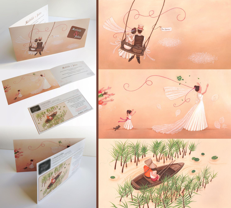 illustration faire part dessin mariage