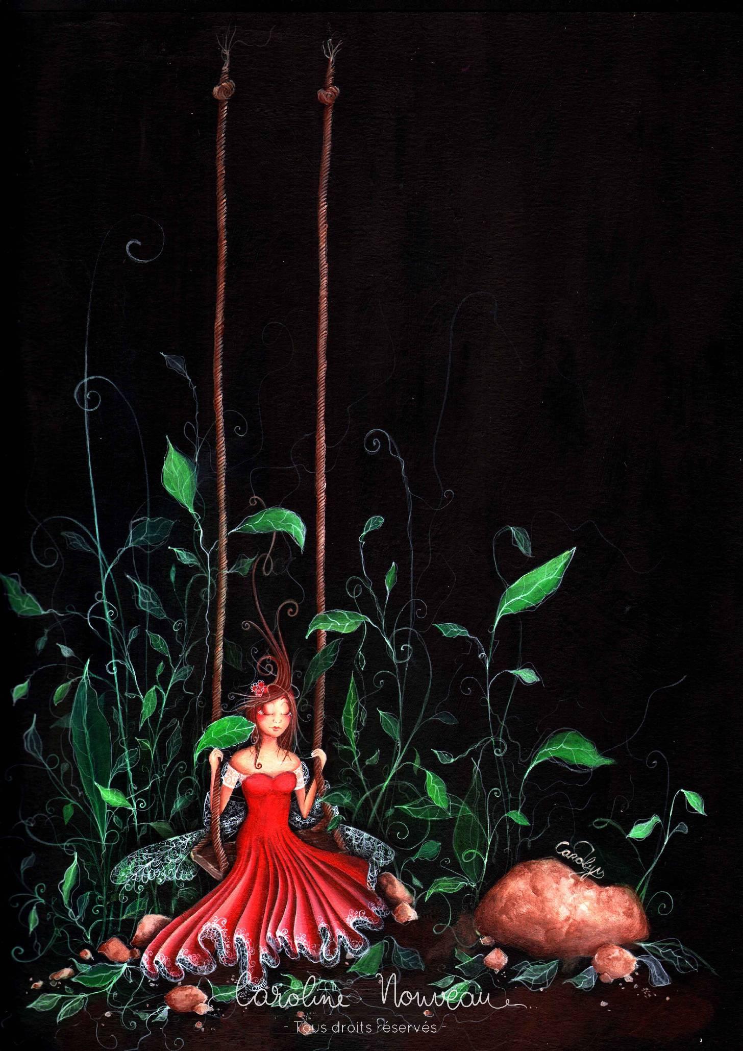 """""""La Balançoire dansante"""" Acrylique sur papier - 29,7*42cm - 2012 - Disponible 160€"""