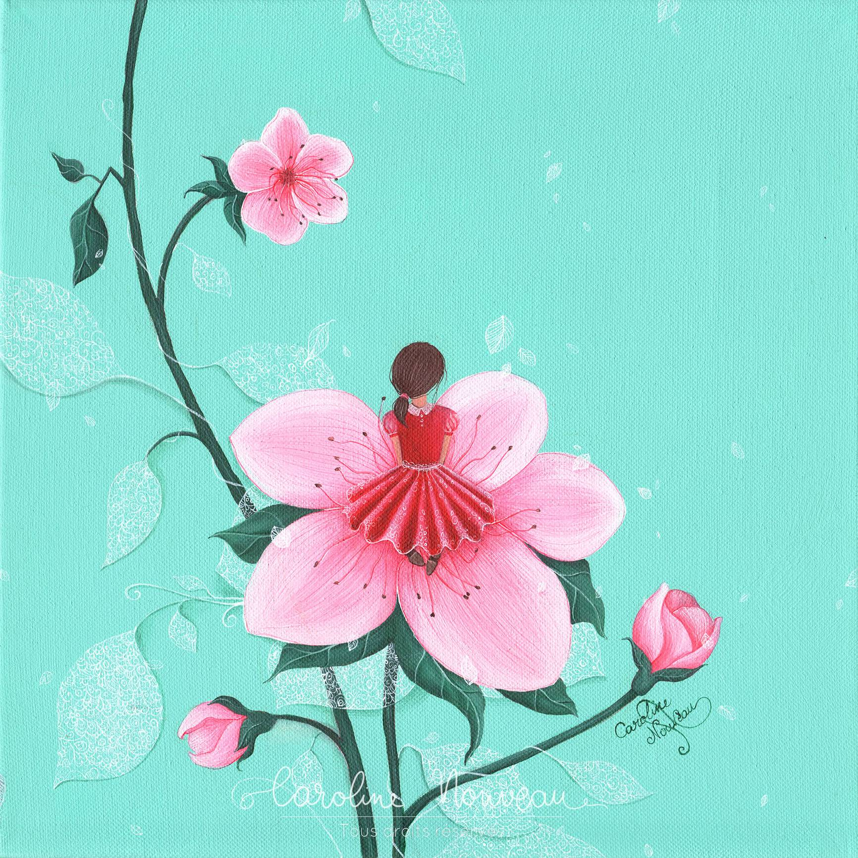"""""""Comme une fleur"""" Acrylique sur toile - 30*30cm - 2017 - Non disponible"""