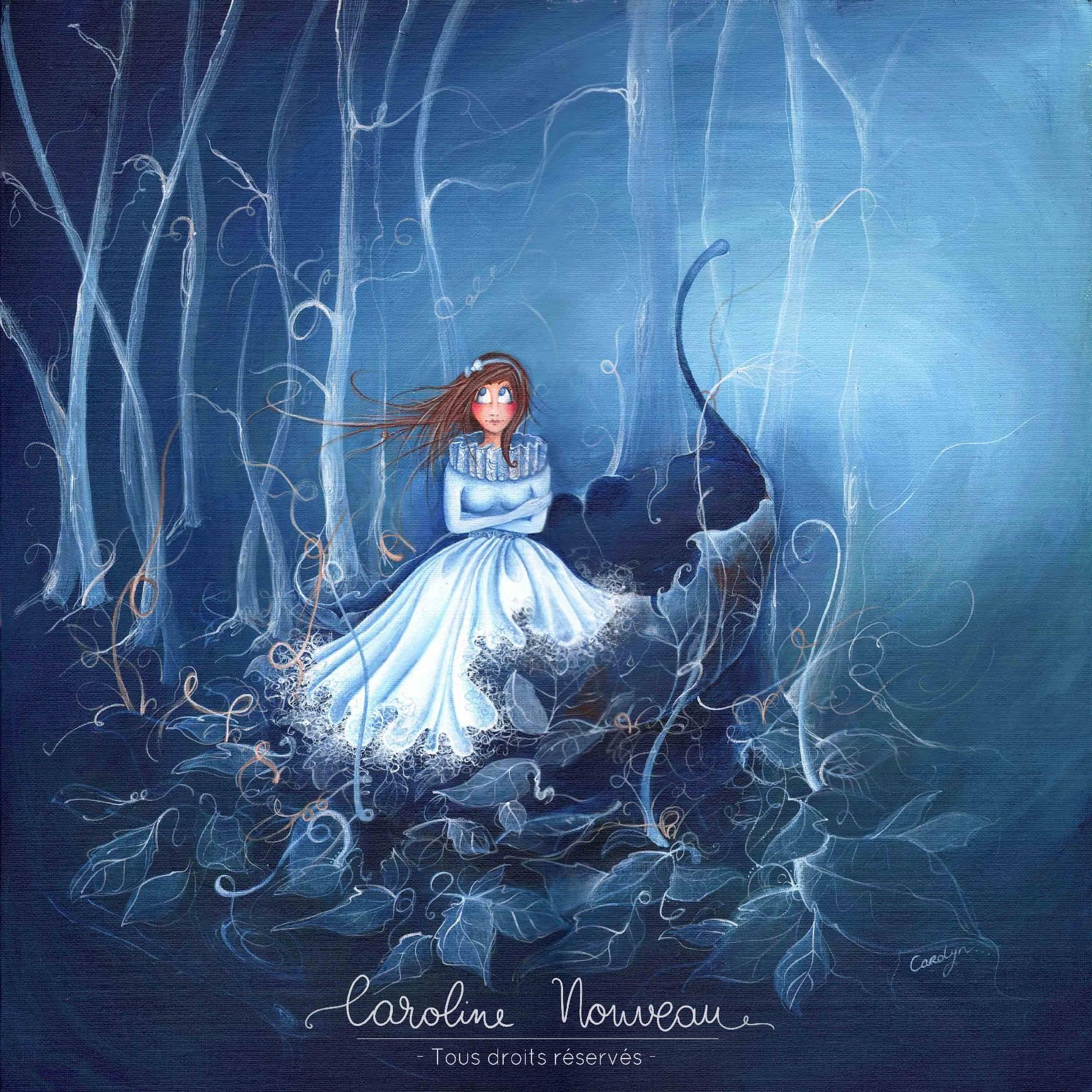 """""""Forêt Bleue"""" Acrylique sur carton toilé - 50x50cm - 2011/2012 - Non disponible"""