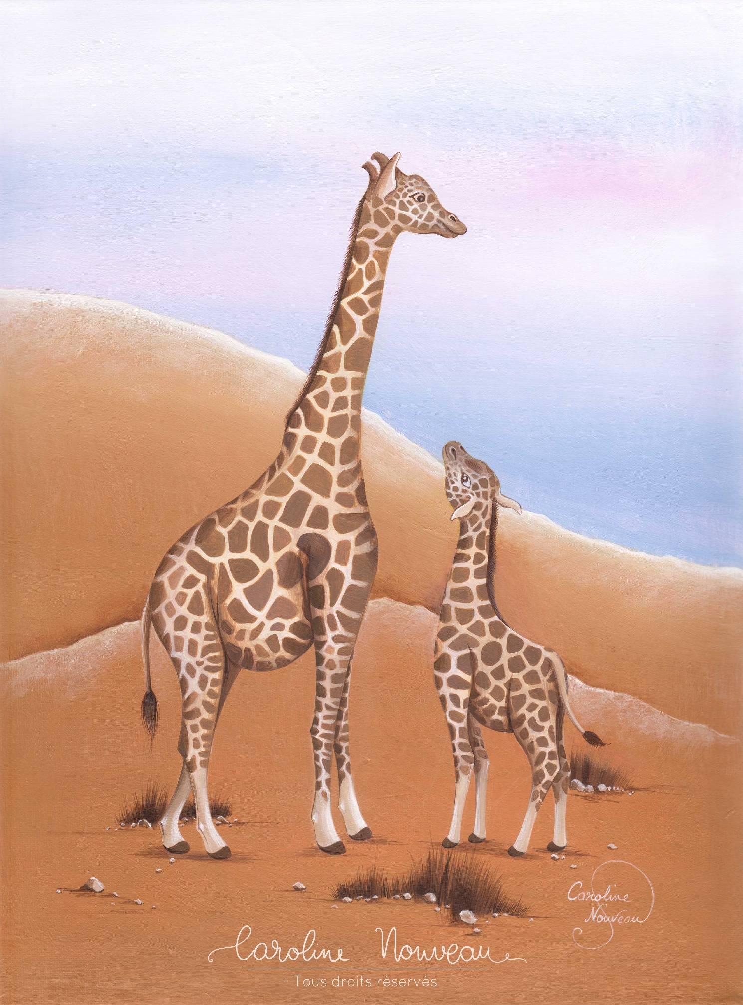 """""""Les Girafes"""" Acrylique sur toile - 30*40cm - 2019 - Disponible 210€"""
