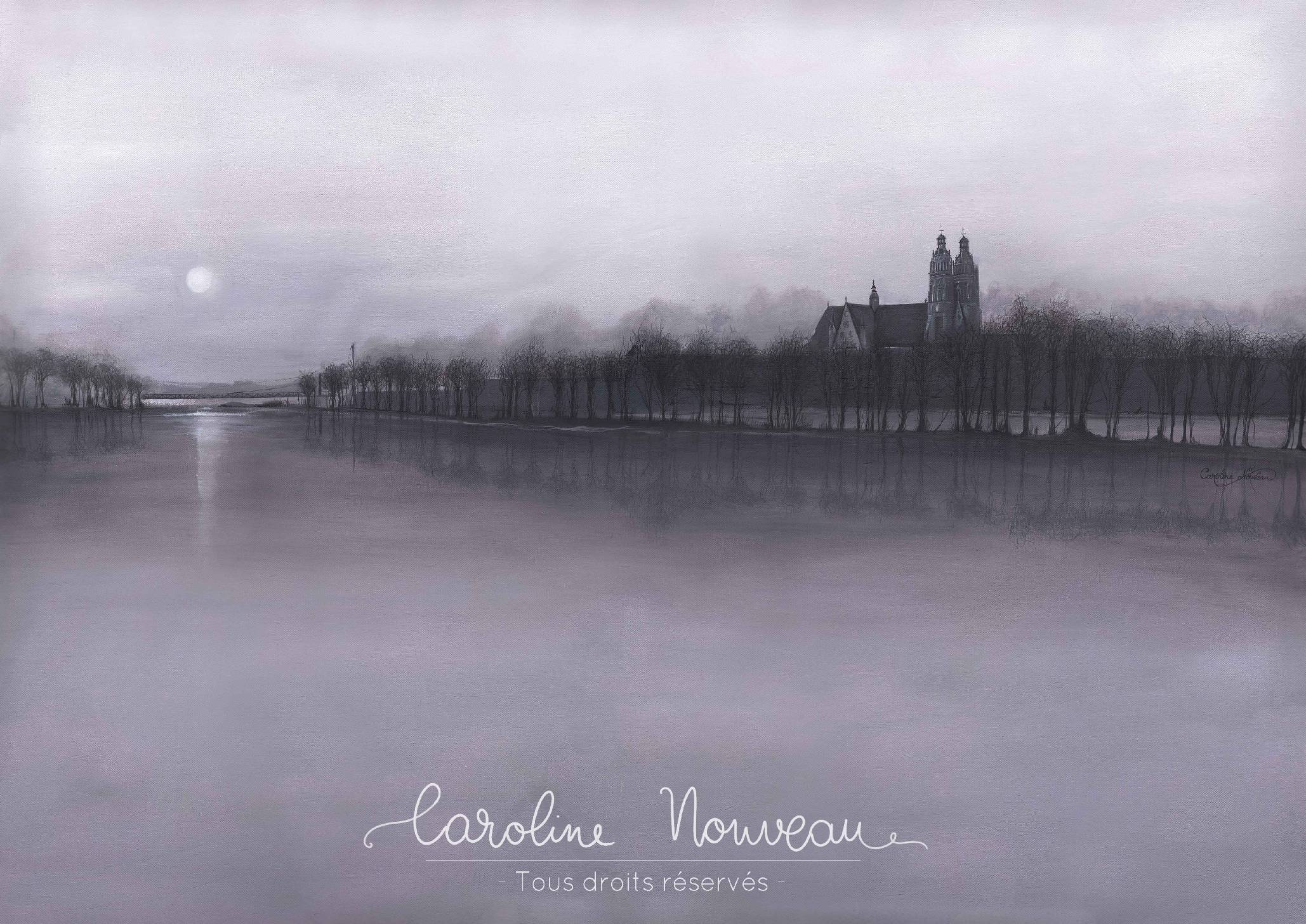 """""""La Loire embrumée"""" Acrylique sur toile - 100*70cm - 2014 - Non disponible"""