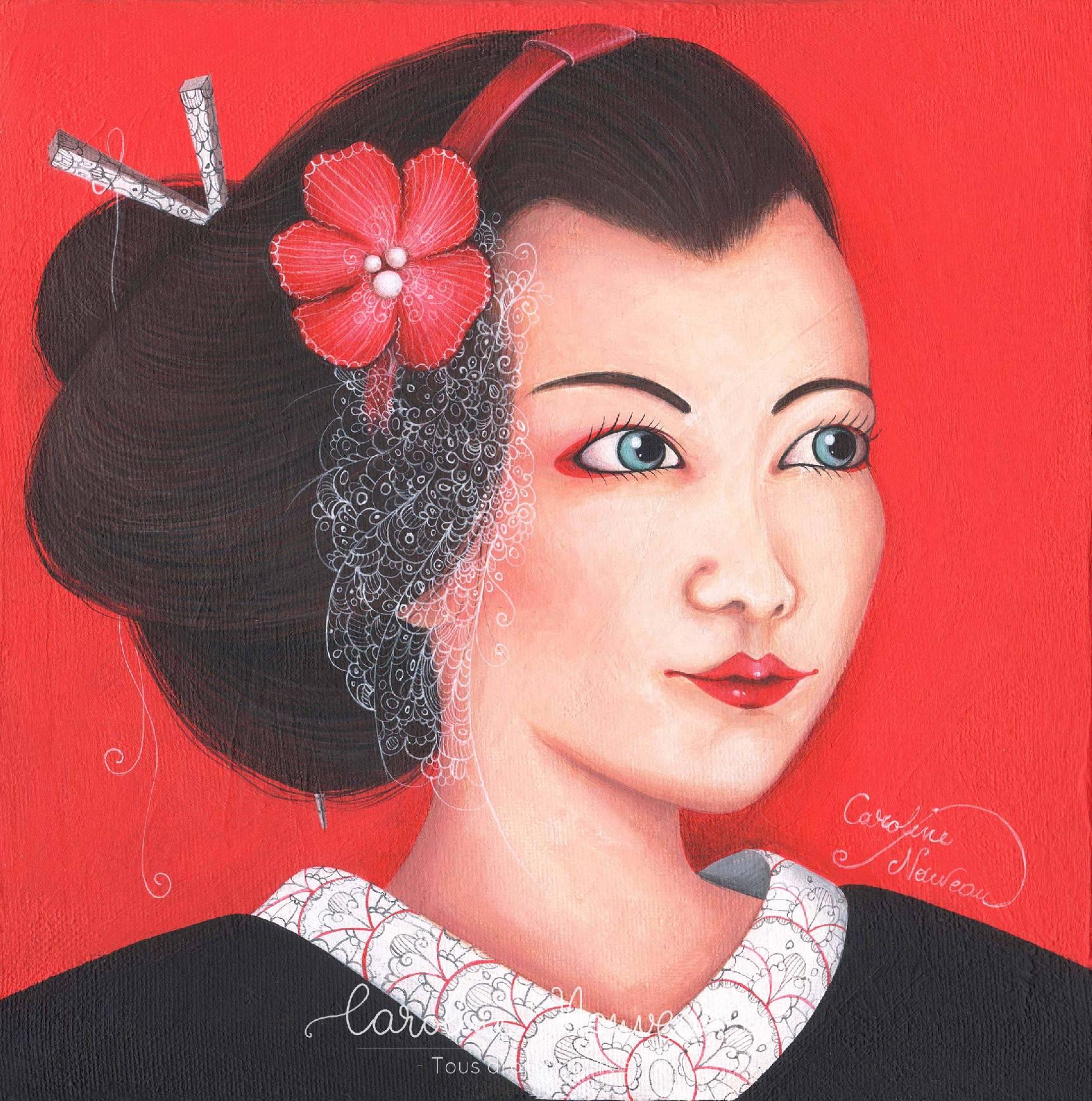 """""""Portrait de Maiko"""" Acrylique sur toile - 20*20cm - 2017 - Disponible 90€"""