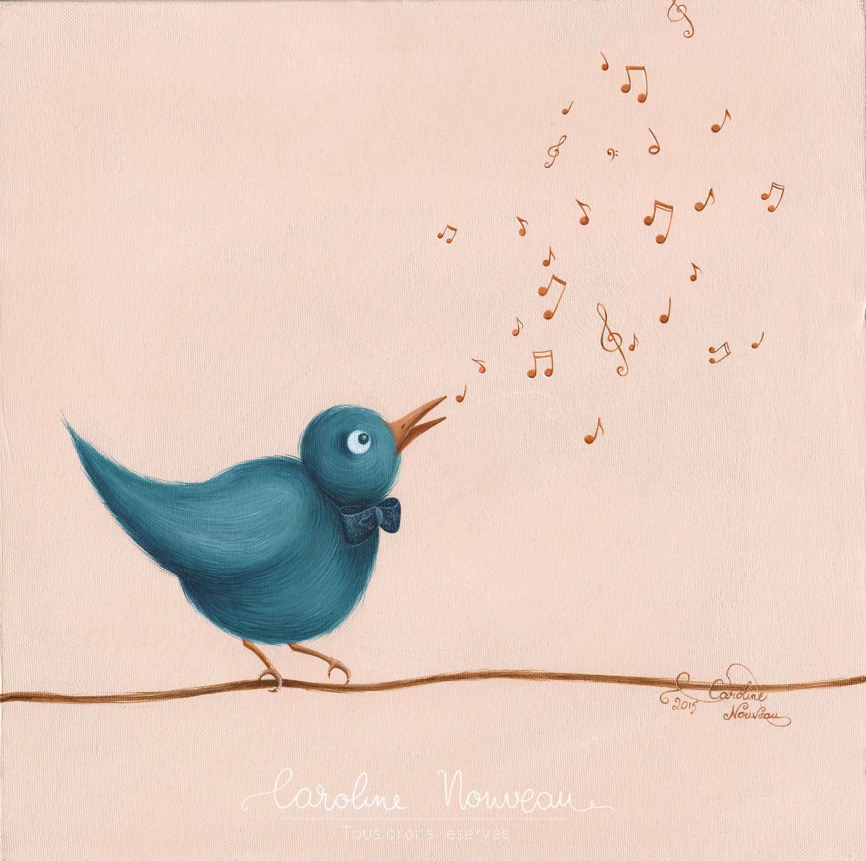 """""""L'oiseau chanteur"""" Acrylique sur toile - 30*30cm - 2015 - Non disponible"""