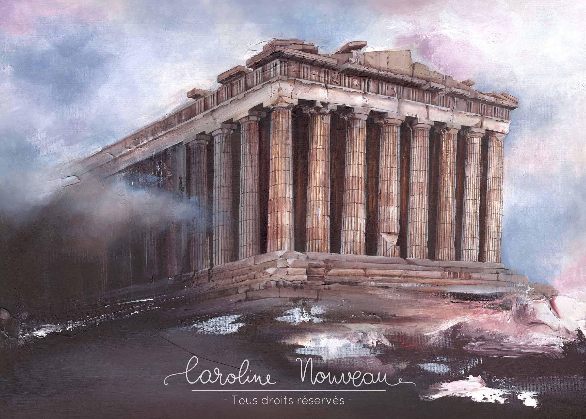 """""""Le Parthénon"""" Acrylique sur toile - 70*50cm - 2010/2020 - Disponible 520€"""