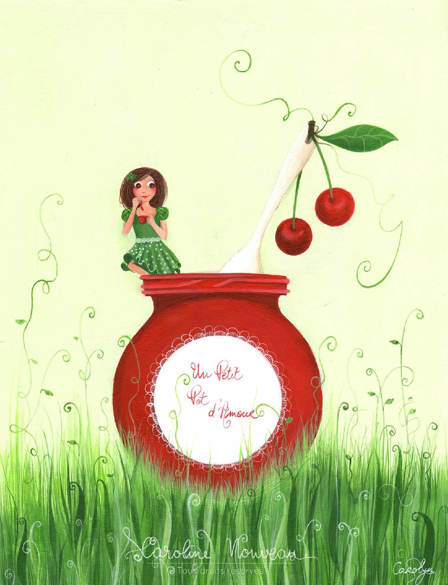 """""""Un petit pot d'amour"""" Acrylique sur papier - 23*30cm - 2013 - Non disponible"""