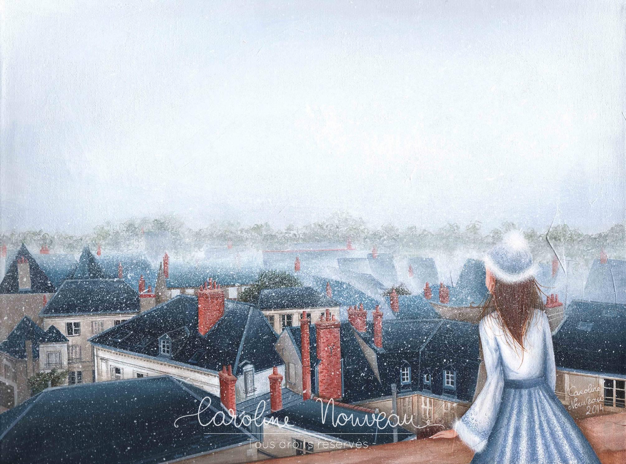 """""""Pluie d'hiver sur Tours"""" Acrylique sur toile - 40*30cm - 2014 - Non disponible"""