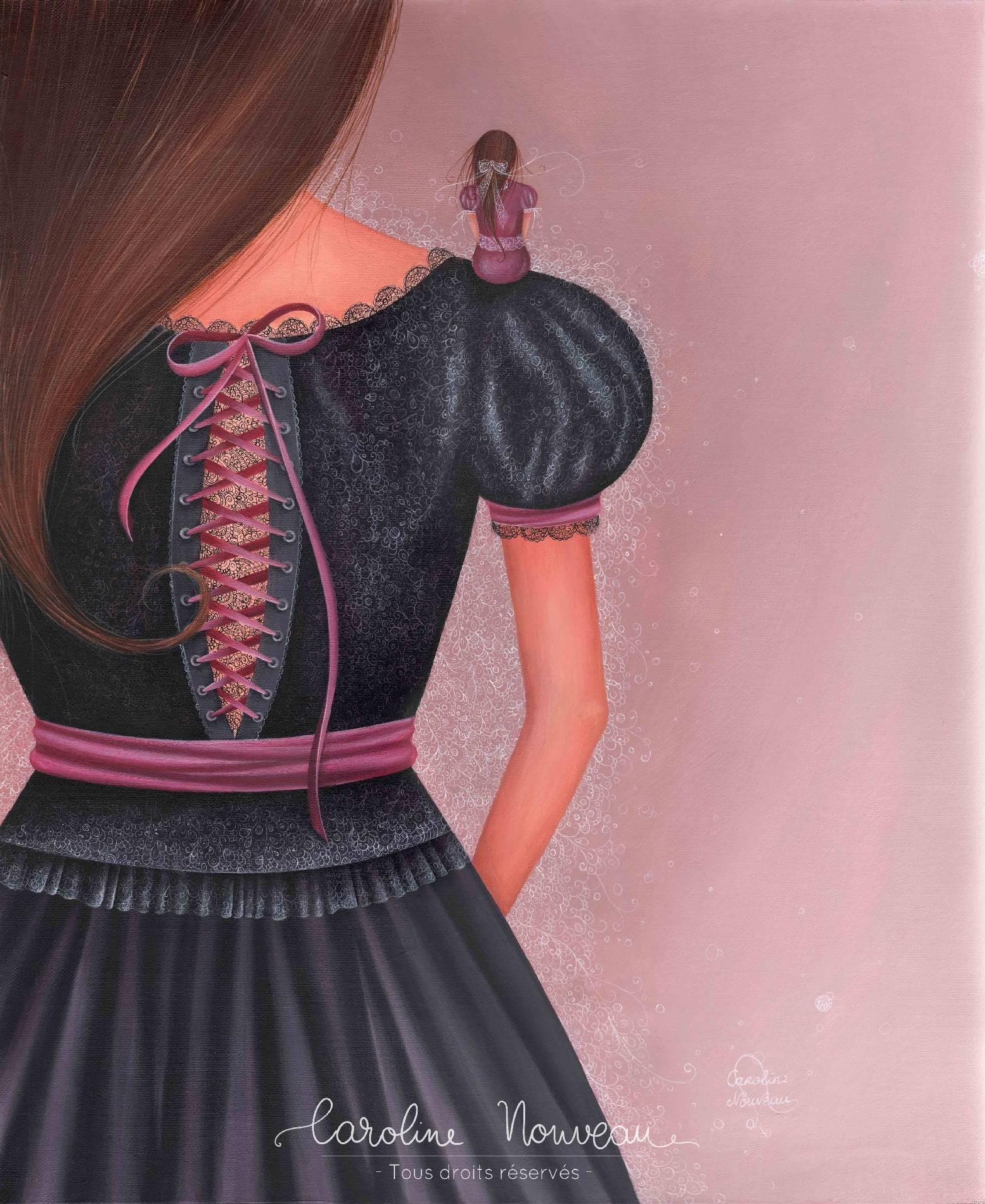 """""""Petite Robe Noire en dentelle"""" Acrylique sur toile – 38x46cm – 2015 - Non disponible"""
