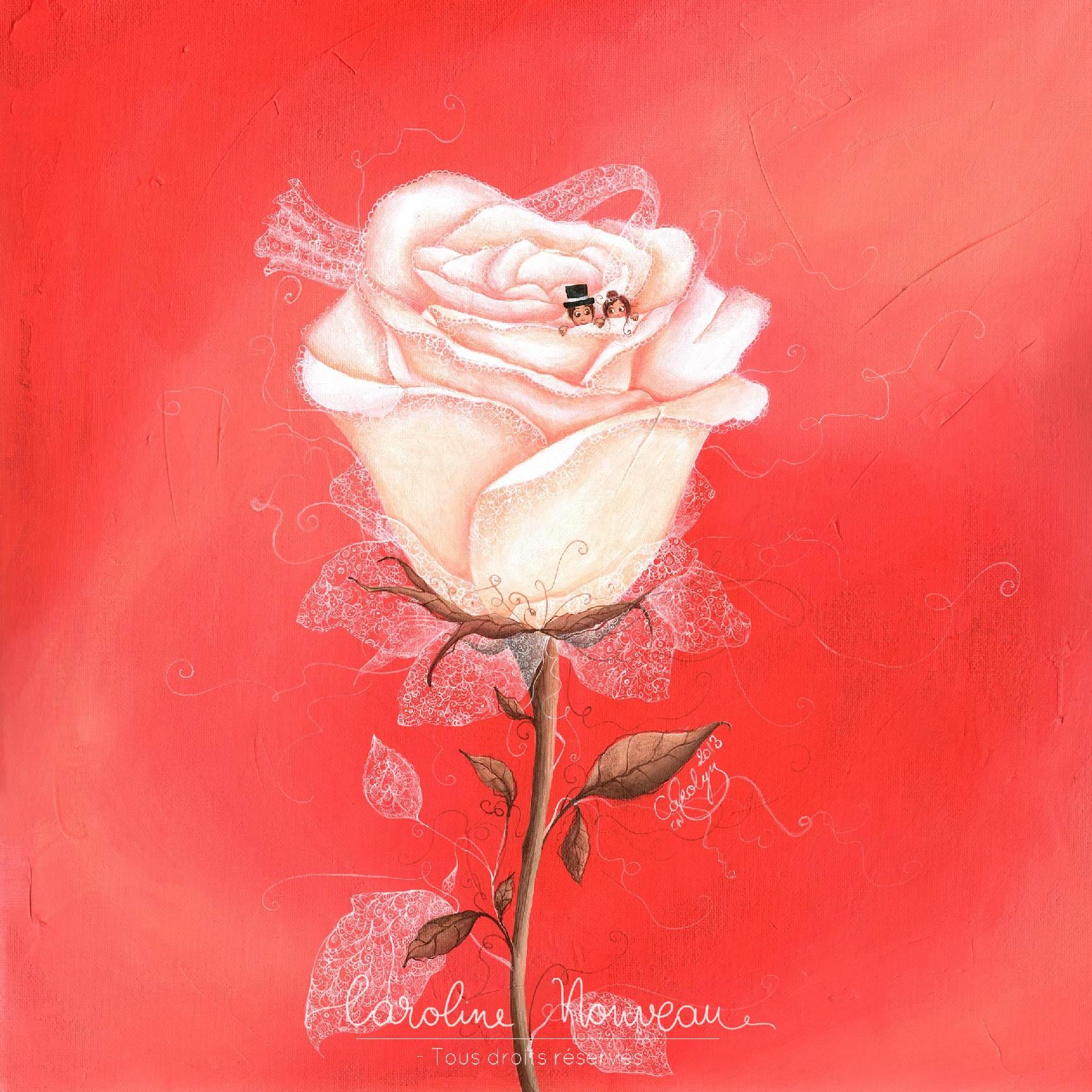 """""""Rose enchantée"""" Acrylique sur toile - 40*40cm - 2013 - Disponible 200€"""