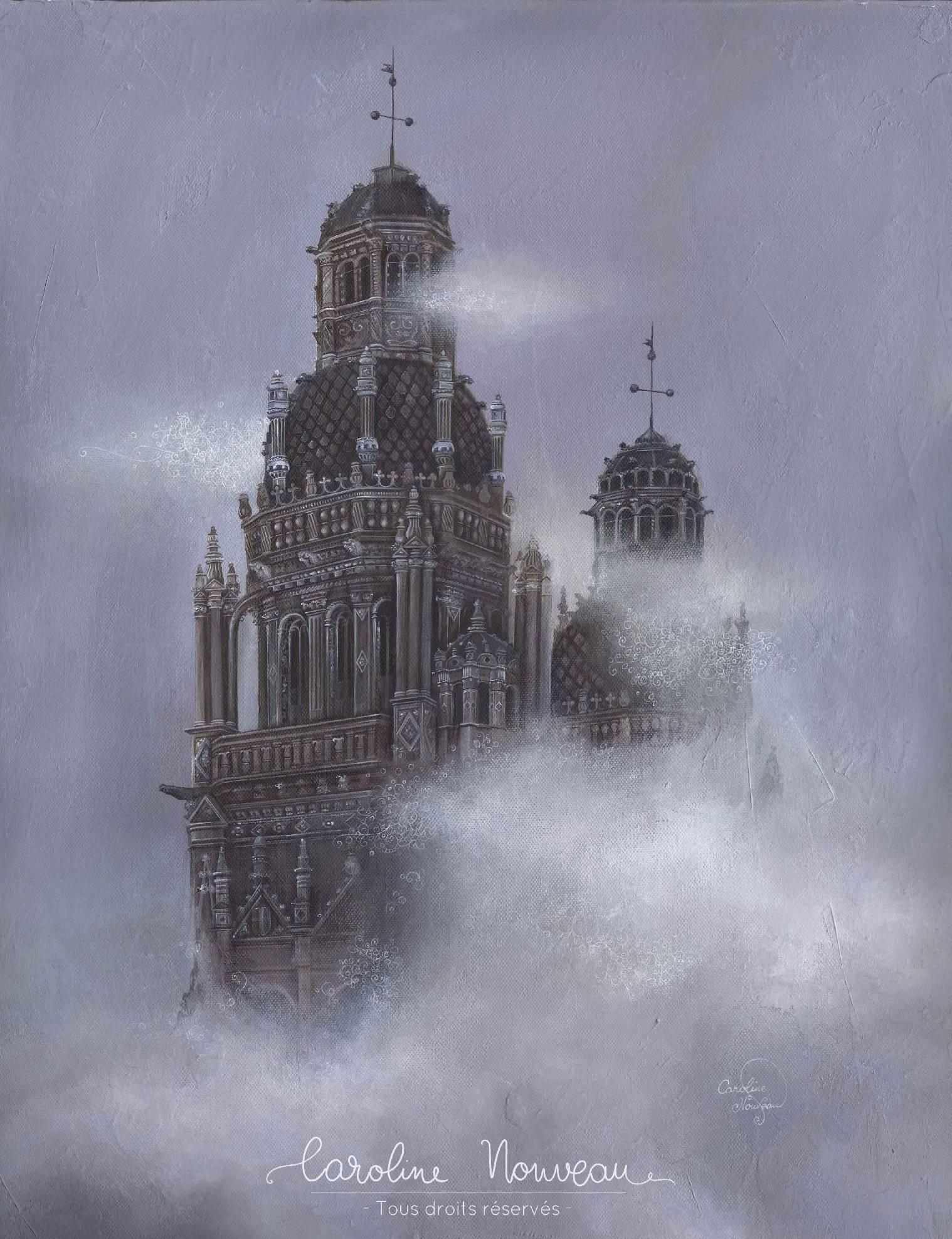 """""""Saint Gatien à travers les nuages"""" Acrylique sur toile - 50*65cm - 2015/2017 - Non disponible"""