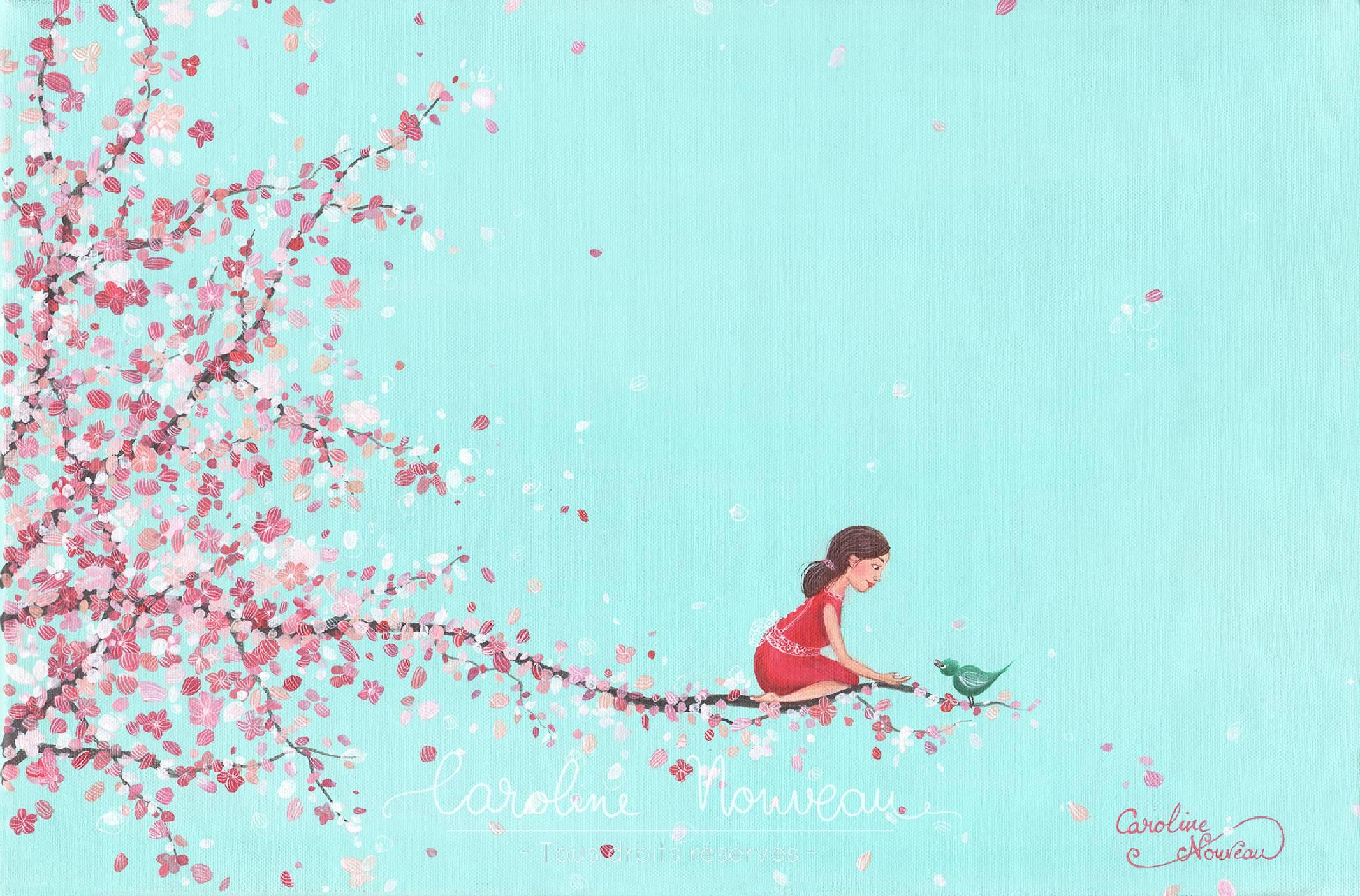 """""""Un Air de Sakura"""" Acrylique sur toile - 33*22cm - 2017 - Non disponible"""