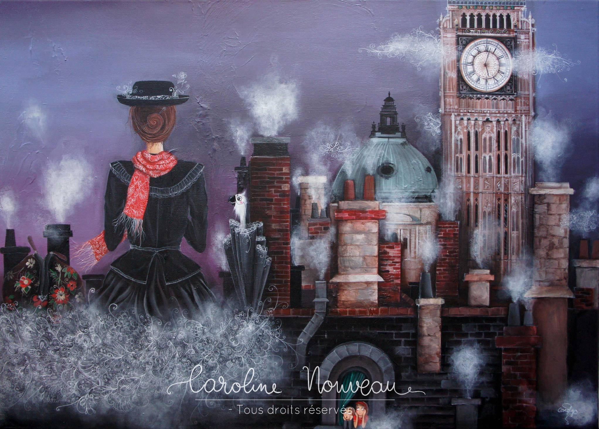 """""""Sur les toits de Londres"""" Acrylique sur toile - 72*50cm - 2012 - Non disponible"""