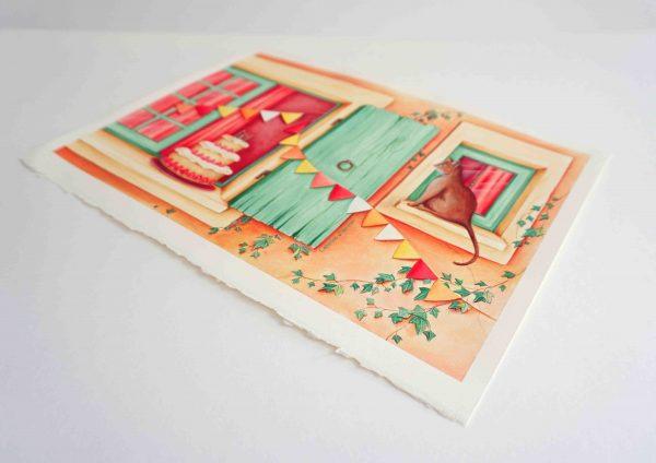 illustration anniversaire gateau chat bougie fraises