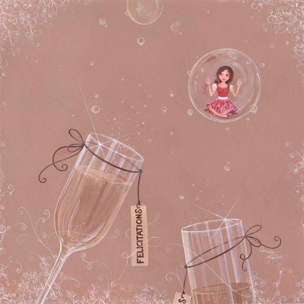 illustration bulle champagne flute fete feliciations fille