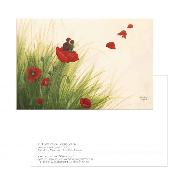 carte envol coquelicots amoureux couple nature fleurs campagne