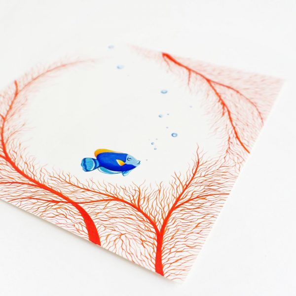 illustration peinture dessin poisson bulle coraux corail