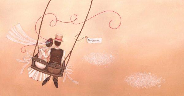 illustration mariage maries balancoire costume chapeau