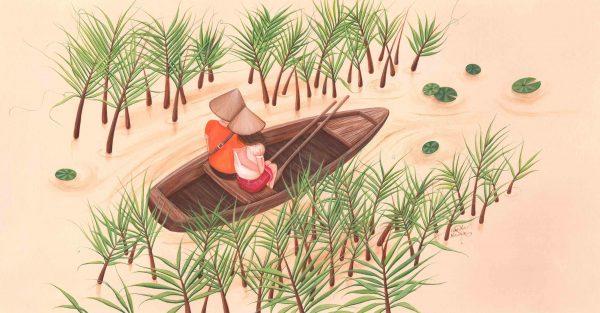 illustration couple amoureux pirogue chapeau asie nenuphar
