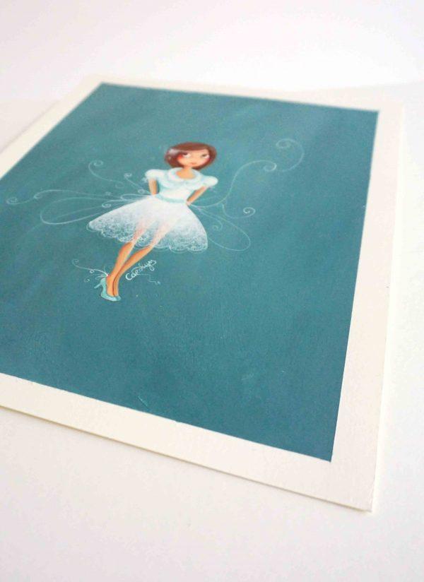 illustration fille robe dentelle