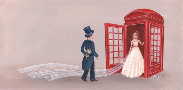 illustration mariage maries cabine telephonique londres angleterre robe chapeau