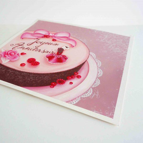 illustration anniversaire gateau chocolat sucre fille gourmandise dentelle