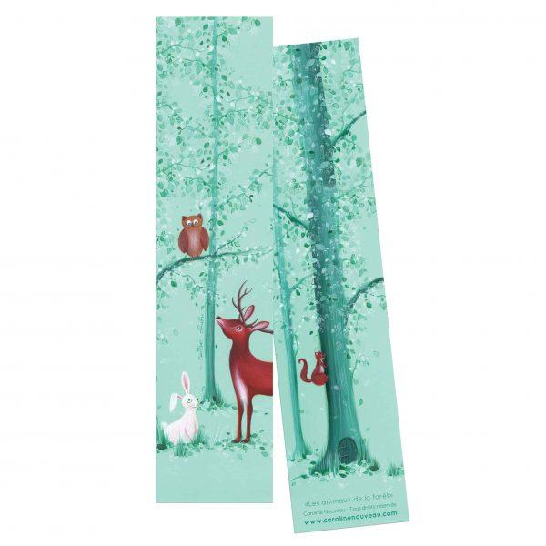 Marque page animaux forêt bois cerf hibou ecureuil lapin