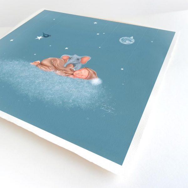 illustration dessin peinture naissance enfant nuage ciel bleu etoiles elephant oiseau