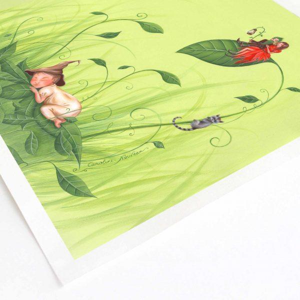 illustration dessin peinture naissance enfant bebe elfes couple parents nature feuilles