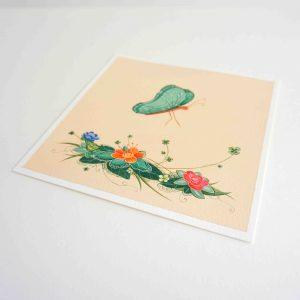 Œuvre originale – Papillon fleurs