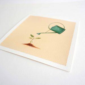 Œuvre originale – Dessin Arrosoir vert