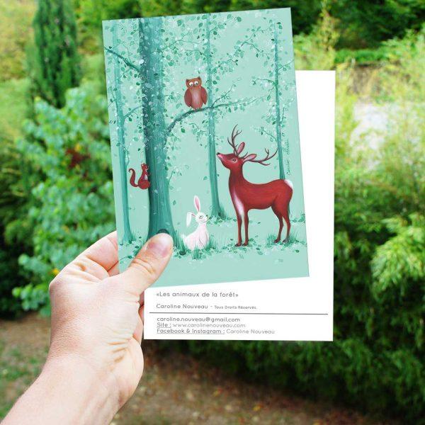 carte animaux forêt bois cerf hibou ecureuil lapin