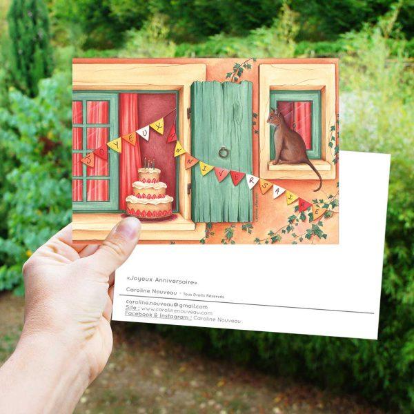 carte gâteau fête chat fenêtre anniversaire