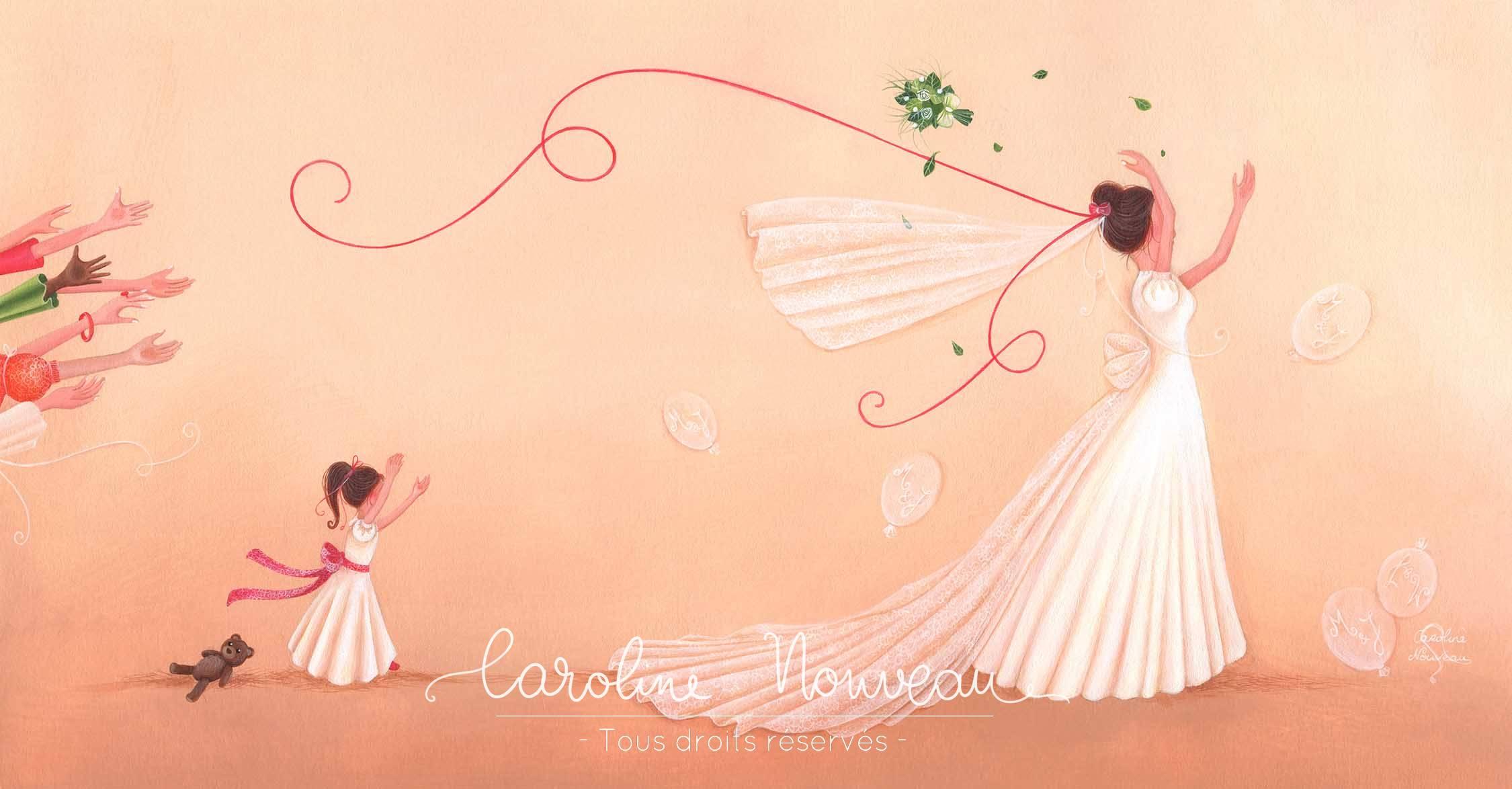 """""""Lancé de bouquet"""" Acrylique sur papier - 45*22,5cm - 2015 - Disponible 150€"""
