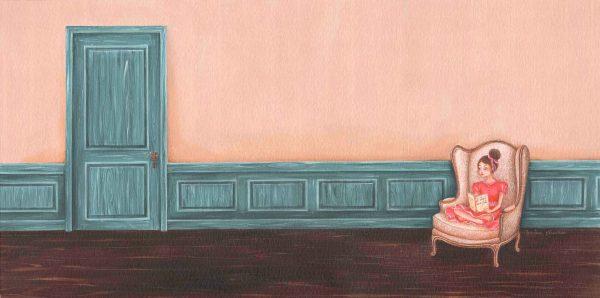dessin acrylique tableau fauteuil fille livre