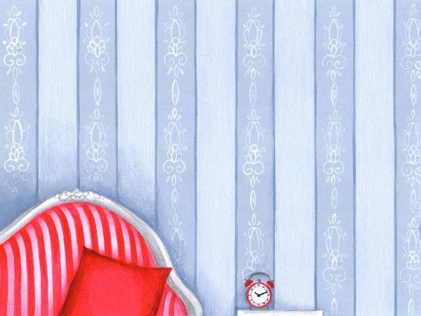 dessin peinture fauteuil rose rayures reveil motifs deocr decoration