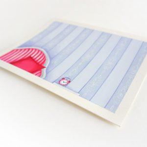 Œuvres originales – Fauteuil rose sur fond bleu