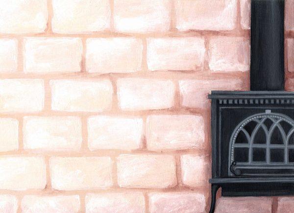 dessin peinture cheminee mur pierre