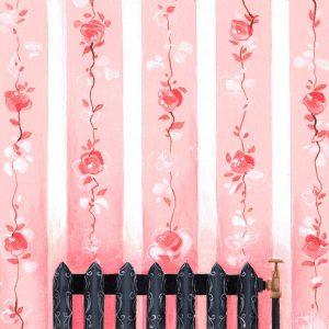 Œuvre originale – Radiateur Décor rose
