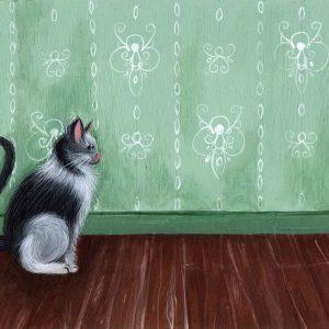 Œuvre originale – Chat sur fond vert