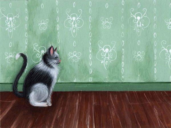 dessin illustration peinture chat papier peint vert decor decoration motifs