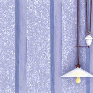 Œuvre originale – Lustre sur fond violet